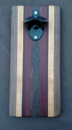 Magic Bottle Opener 16 - 060. Black Walnut, Hard Maple & Bloodwood. Double Magic for refrigerator mount.
