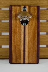 Magic Bottle Opener 16 - 062. Double Magic. Purpleheart, Mahogany & Red Oak.