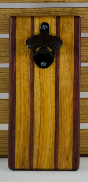 Magic Bottle Opener 16 - 064. Double Magic. Purpleheart & Canarywood.