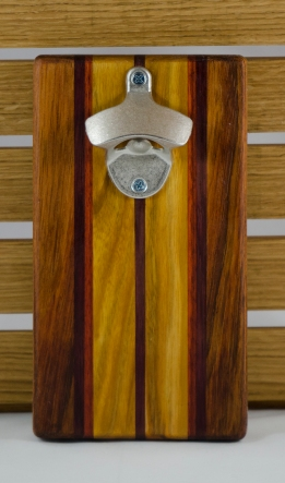 "Magic Bottle Opener 16 - 068. Double Magic. Jatoba, Canarywood, Padauk & Bloodwood. 5"" x 9"" x 3/4""."