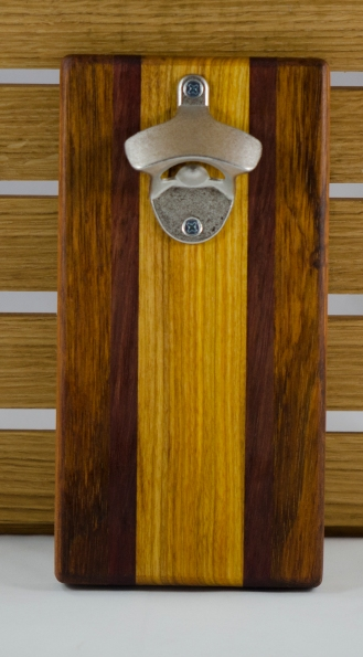Magic Bottle Opener 16 - 070. Double Magic. Jatoba, Black Walnut & Canarywood.