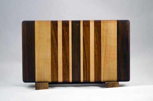 """Small Board 16 - 010. Black Walnut, Hard Maple & Jatoba. 13"""" x 8"""" x 1-1/4""""."""