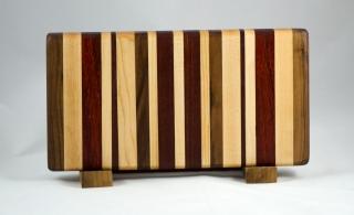 "Small Board # 16 - 011. Hard Maple, Padauk, Black Walnut, Jatoba & Bloodwood. 7"" x 12"" x 1-1/4""."