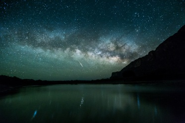 Photographer Rowdy Winters captured this breathtaking moment while standing in the middle of the Rio Grande River at Big Bend National Park in Texas with Mexico 15 feet to his right. He pointed his camera up at the night sky and caught the brilliance of a shooting star and the Milky Way. The long exposure even allowed him to pick up the starlight reflecting in the water. Posted on Tumblr by the US Department of the Interior, 7/14/16.