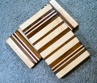 "Cheese Board 16 - 026. Hard Maple, Black Walnut, Purpleheart & Jatoba. 8"" x 14"" x 3/4""."