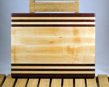 "Cutting Board 16 - Edge 015. Purpleheart & Hard Maple. Edge grain. 12"" x 16"" x 1-1/4""."