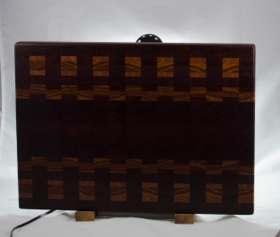 "Cutting Board 16 - End - 031. Purpleheart, Canarywood, Cherry & Bloodwood. End Grain. 15"" x 20"" x 1-1/4"". $240."