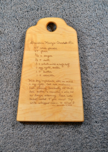 "Engraved 16 - 13. 14"" x 8"" x 3/4"". Recipe board - of the world's greatest pie."