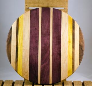 "Lazy Susan 16 - 015. Black Walnut, Hard Maple, Yellowheart & Purpleheart. 17"" diameter."