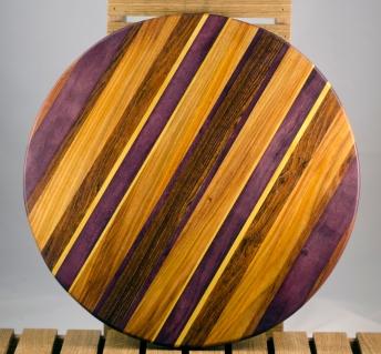 """Lazy Susan 16 - 018. Jatoba, Purpleheart, Canarywood, Yellowheart & Caribbean Rosewood. 17"""" diameter."""
