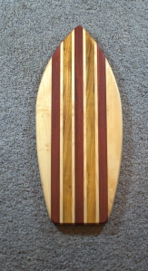 "Medium Surfboard 16 - 06. Canarywood, Jatoba & Hard Maple. 8"" x 20"" x 3/4""."