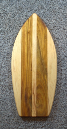 "Medium Surfboard 16 - 07. Canarywood & Hard Maple. 8"" x 20"" x 3/4""."