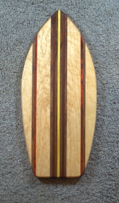 "Medium Surfboard 16 - 08. Padauk, Black Walnut, Yellowheart & Birds Eye Maple. 8"" x 20"" x 3/4""."