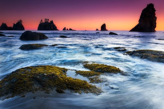 Colorful skies, amazing beaches & towering seastacks: All found at Washington's Olympic National Park. Pic by Joey Priola. Tweeted by the US Department of the Interior, 6/3/16.