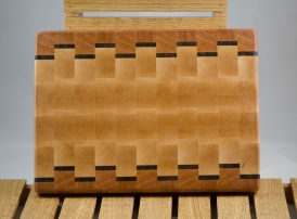 "Small Board 16 - 012. Cherry, Black Walnut & Hard Maple. End Grain. 14"" x 9"" x 1""."