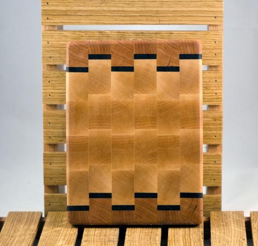 "Small Board 16 - 015. Cherry, Black Walnut & Hard Maple. End Grain. 6"" x 9"" x 1""."