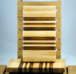 "Small Board 16 - 017. Hard Maple & Jatoba. 7"" x 12"" x 1-1/4""."