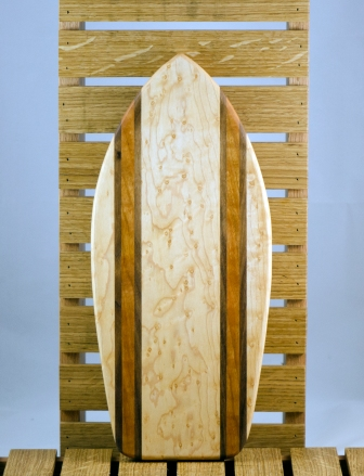 Small Surfboard 16 - 02. Birds Eye Maple, Black Walnut & Canarywood.