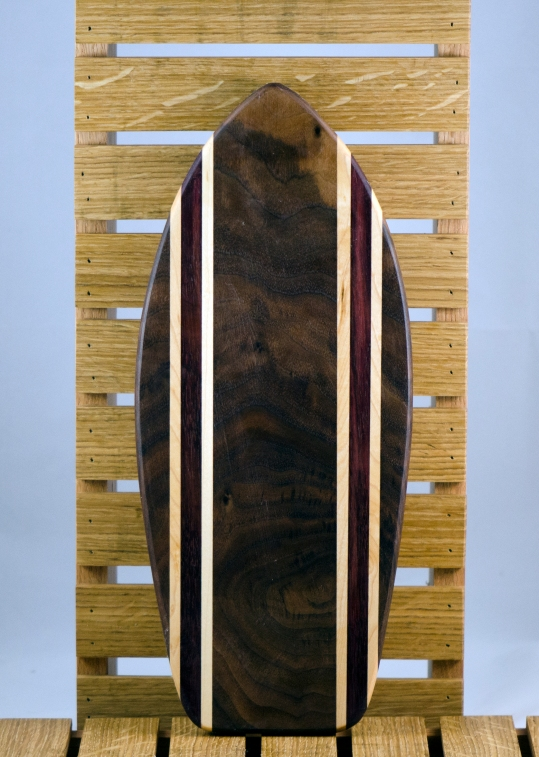 Small Surfboard 16 - 05. Black Walnut, Hard Maple & Purpleheart. Sold in its first showing.