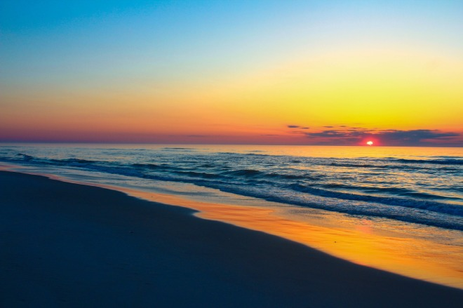 Assateague Island National Seashore protects sandy beaches, salt marshes, maritime forests and coastal bays along a strip of barrier island that stretches across the Maryland and Virginia border. In this dynamic coastal environment, the island is continuously being reshaped by wind and water. Sunrise photo by Jake Breach. Tweeted by the US Department of the Interior, 7/22/16.