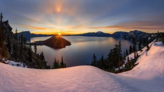 Oregon's Crater Lake National Park at Sunrise. Photo by Matt Walker. Tweeted by the US Department of the Interior, 6/26/16.