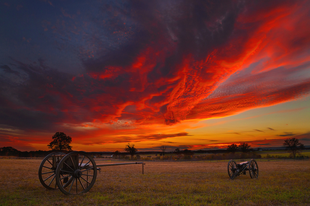 Fought over the first three days of July 1863, the Battle of Gettysburg in Pennsylvania was one of the most crucial battles of the Civil War. On those hills and fields, over 160,000 soldiers struggled to survive. Preserved as Gettysburg National Military Park, visitors can hear their stories and walk in their footsteps. Sunset photo by Doug Shearer. Posted on Tumblr by the US Department of the Interior, 7/1/15.