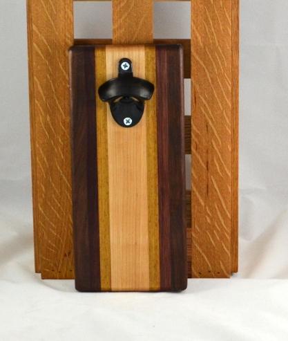 Magic Bottle Opener 16 - 083. Black Walnut, Bloodwood, Teak & Hard Maple. Wall mount.