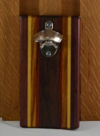 Magic Bottle Opener 16 - 084. Purpleheart, Yellowheart, Canarywood, Padauk & Black Walnut. Wall mount.
