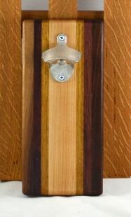 Magic Bottle Opener 16 - 090. Black Walnut, Bloodwood, Teak & Hard Maple. Wall mount.