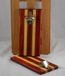 Magic Bottle Opener 16 - 092. Padauk, Yellowheart, Hard Maple & Bubinga. Wall mount.