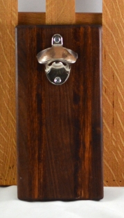 Magic Bottle Opener 16 - 093. Black Walnut, Jatoba & Caribbean Rosewood. Wall mount.