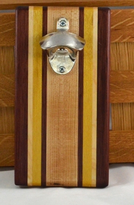 Magic Bottle Opener 16 - 100. Purpleheart, Hard Maple & Yellowheart. Double Magic = Refrigerator or Wall Mount.