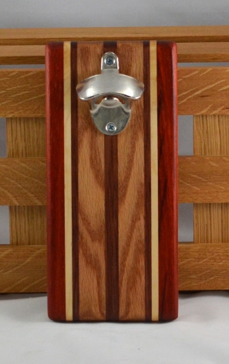 Magic Bottle Opener 16 - 101. Padauk, Hard Maple, Bubinga & Red Oak. Double Magic = Refrigerator or Wall Mount.