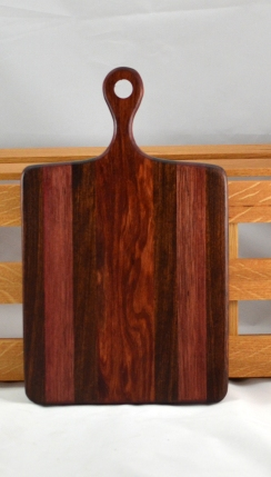 "Sous Chef 16 - 020. Caribbean Rosewood, Bubinga & Bloodwood. 16"" x 9"" x 3/4"". Gorgeous wood in this one!"