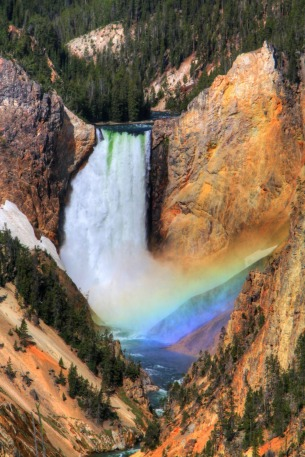 "A trip to Yellowstone National Park in Wyoming isn't complete without viewing the majestic Lower Falls. When visiting the park in 2012, Stuart Burnett and his wife Patti captured this shot of Lower Falls legendary rainbow thanks to detailed research and planning. Of the experience, Stuart says, ""You could hear the gasp from the other viewers as the rainbow formed. It was just magnificent!! It lasted for about 10 minutes … 10 minutes that I will never forget!!"" Photo courtesy of Stuart Burnett. Posted on Tumblr by the US Department of the Interior, 7/3/16."
