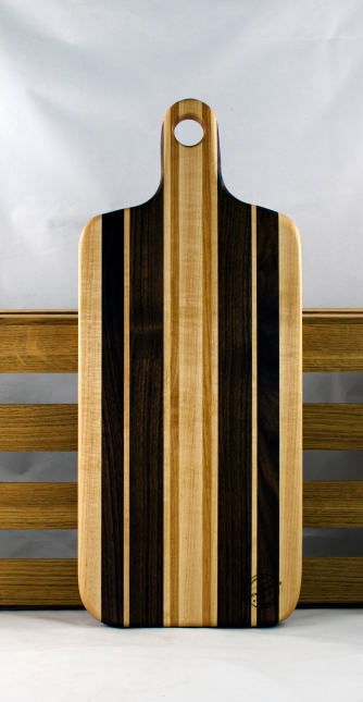 "Bread Board 16 - 05. Cherry, Black Walnut & Hard Maple. 8"" x 20"" x 7/8""."