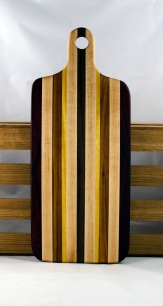 "Bread Board 16 - 09. Hard Maple, Black Walnut, Canarywood & Yellowheart. 8"" x 20"" x 7/8""."