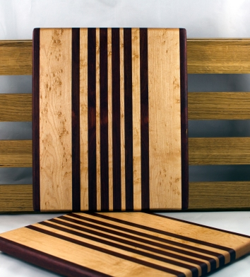 "Cheese Board 16 - 028. Bloodwood & Birds Eye Maple. 9"" x 11"" x 3/4""."