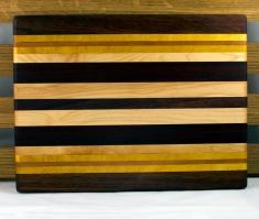 "Cheese Board 16 - 032. Black Walnut, Yellowheart, Cherry, Hard Maple & Jatoba. 12"" x 10"" x 3/4""."