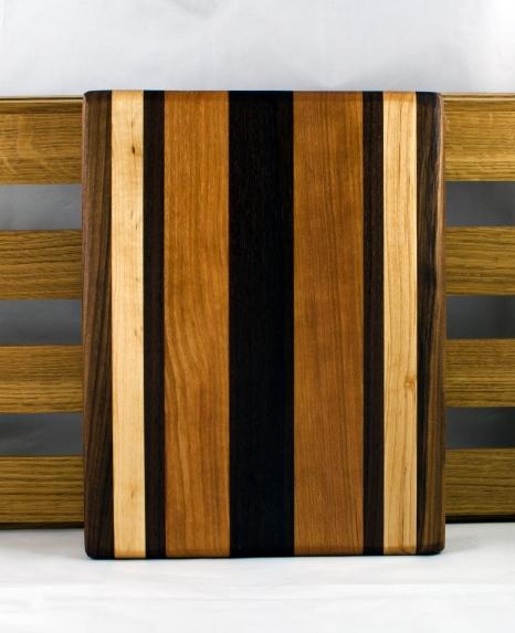 "Cheese Board 16 - 034. Black Walnut, Hard Maple & Cherry. 12"" x 9"" x 3/4""."