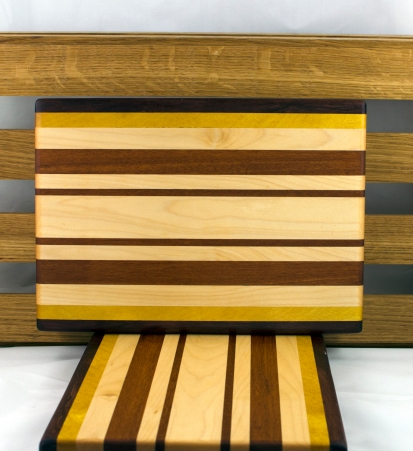 "Cheese Board 16 - 035. Black Walnut, Yellowheart, Hard Maple & Jatoba. 8"" x 11"" x 3/4""."