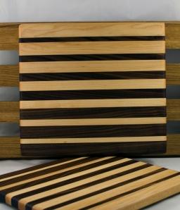 "Cheese Board 16 - 039. Hard Maple & Black Walnut. 10"" x 11"" x 3/4""."