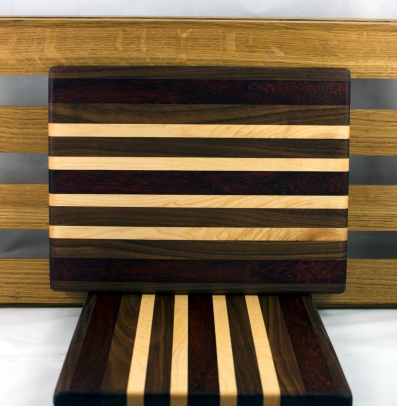 "Cheese Board 16 - 043. Padauk, Black Walnut, Jatoba & Hard Maple. 8"" x 11"" x 3/4""."
