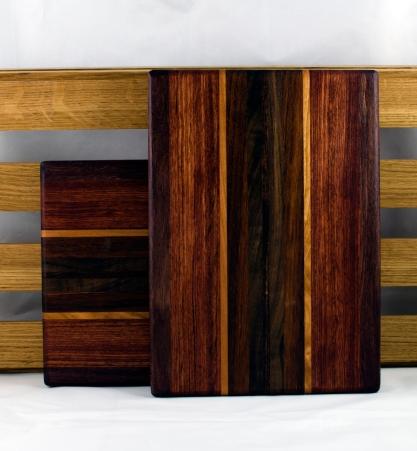 "Cheese Board 16 - 049. Purpleheart, Bubinga, Hard Maple & Caribbean Rosewood. 7"" x 11"" x 3/4""."
