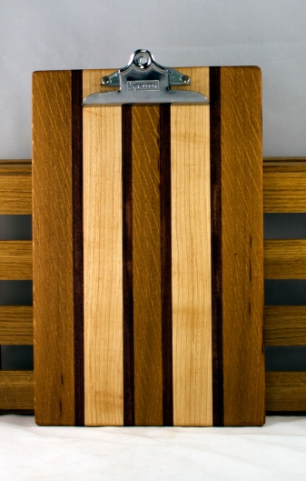 """Clipboard 16 - 018. White Oak, Purpleheart & Hard Maple. Legal Size, 1"""" clip."""