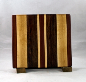 "Small Board 16 - 022. Hard Maple, Jatoba & Bubinga. 10"" x 10"" x 7/8""."