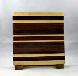 "Small Board 16 - 022. Hard Maple, Black Walnut, Bubinga & Bloodwood. 10"" x 10"" x 7/8""."