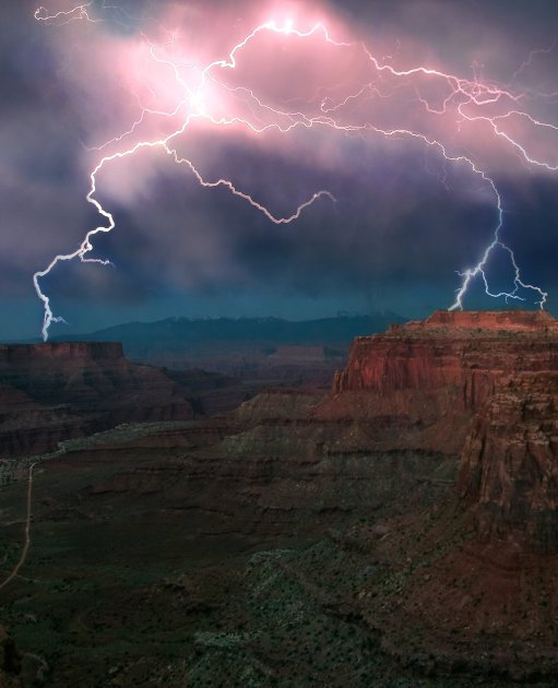 A spiderweb of lightning fills the sky at Utah's Canyonlands National Park. Photo by Chelsey Dever. Tweeted by the US Department of the Interior, 10/5/16.