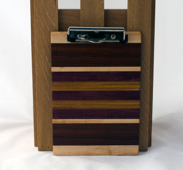"Clipboard 16 - 020. Hard Maple, Canarywood, Purpleheart & Jatoba. Note pad size. 1/2"" clip."