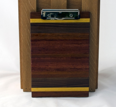 "Clipboard 16 - 021. Jatoba, Yellowheart, Black Walnut & Bubinga. Note pad size. 1/2"" clip."